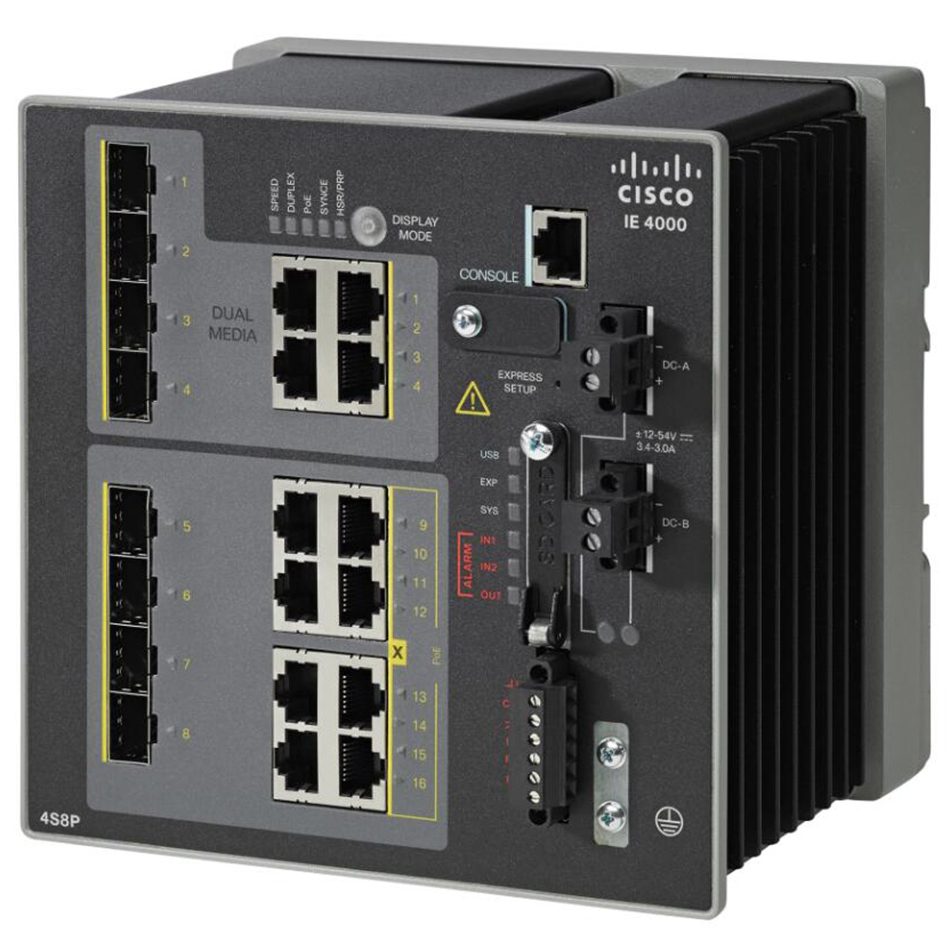 IE4000 with 4GE combo, 4GE PoE+ and 4 GE combo uplink ports # IE-4000-4GC4GP4G-E