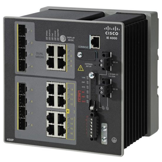 IE4000 w/ 4FE Copper combo ports and 4 GE combo uplink ports # IE-4000-4TC4G-E