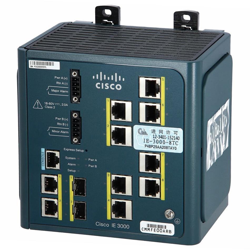 Cisco IE 3000 Switch, 8 10/100 + 2 T/SFP # IE-3000-8TC