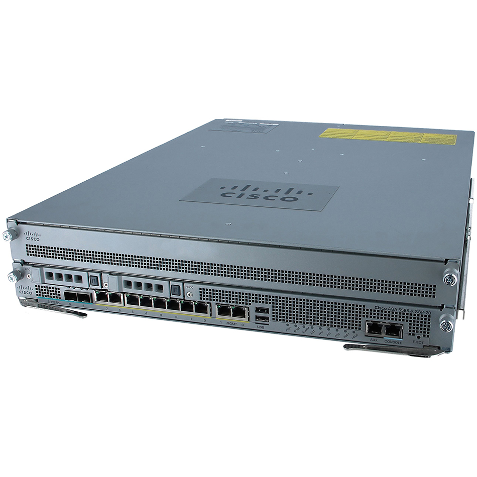 ASA 5585-X Chassis with SSP20,8GE,2 SFP,2 Mgt,1 AC, 3DES/AES # ASA5585-S20-K9